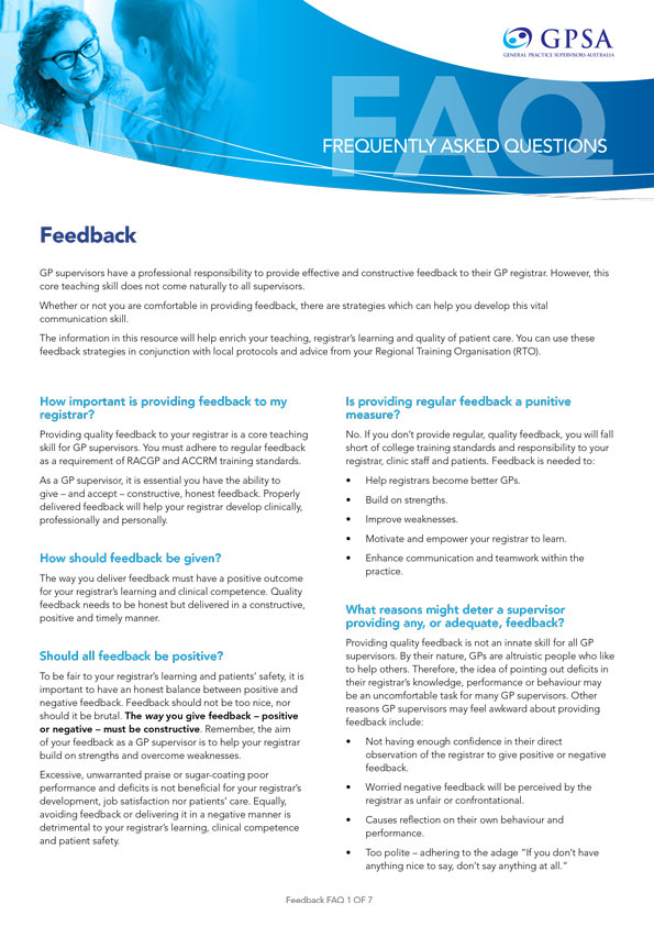 GPSA - GP Supervisors Australia | Frequently Asked Questions