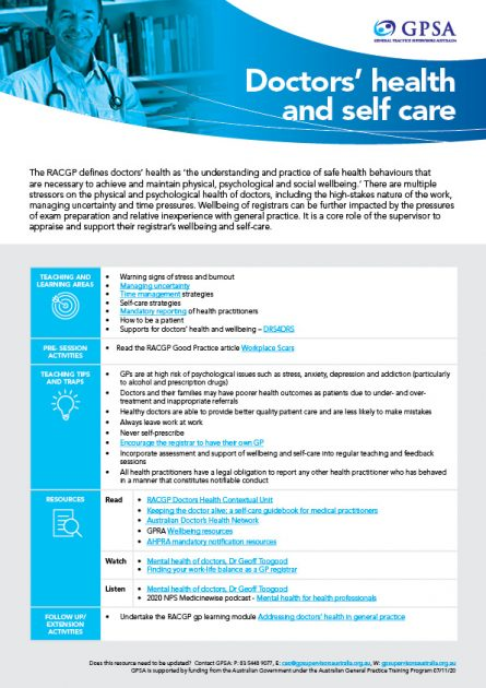 Doctors health and self care